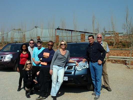 Celebs and journos circumnavigating Lesotho in the Nissan X-trail