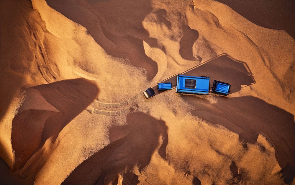 The desert train is powered by Honda's fuel cell technology. Map's idea is that any excess water produced by the engine will get filtered back into a water container at the back of the vehicle.