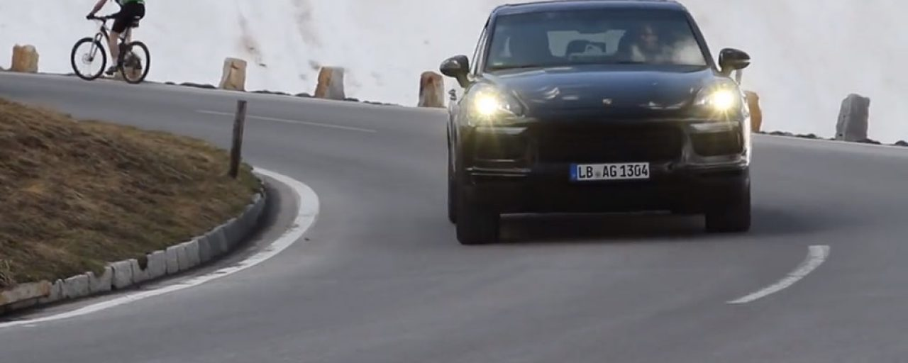 2018 Porsche Cayenne prototypes playing in the Alps