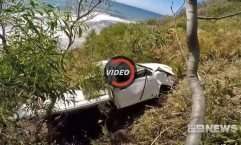 Teens' crashed Toyota Hilux gets airlifted off a cliff