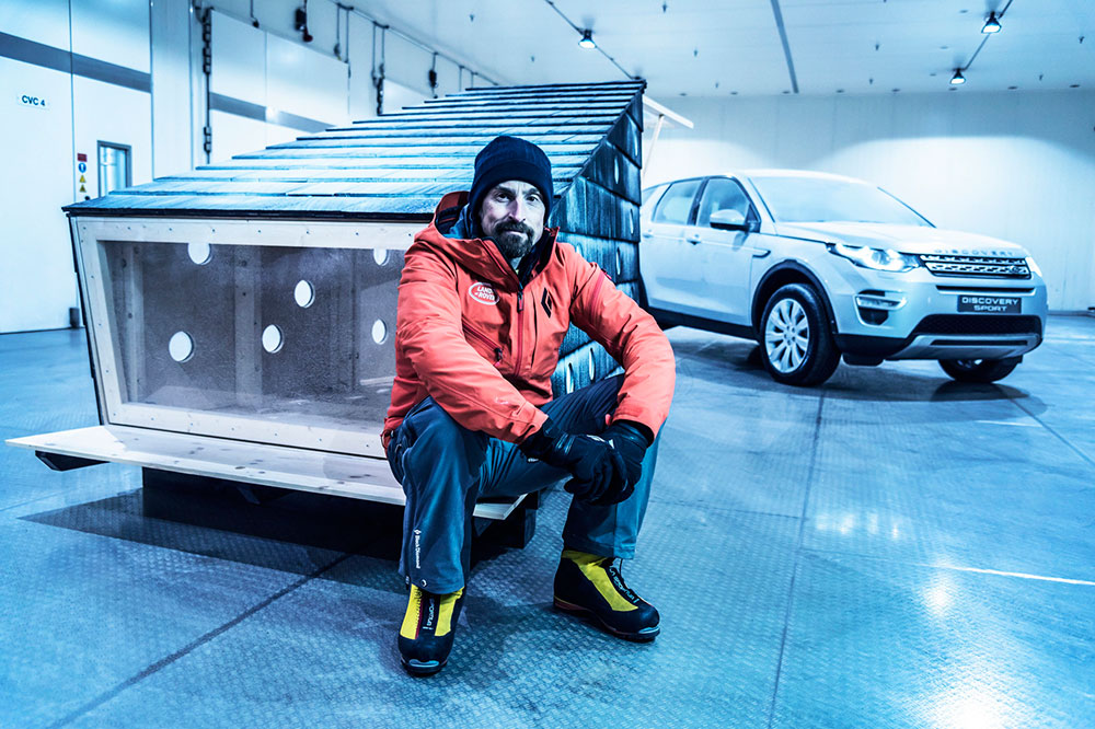 Kenton Cool tests the cabin in Land Rover's cool chamber