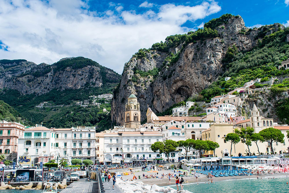 The harbor where tourists catch boats to the island of Capri and other coastal towns